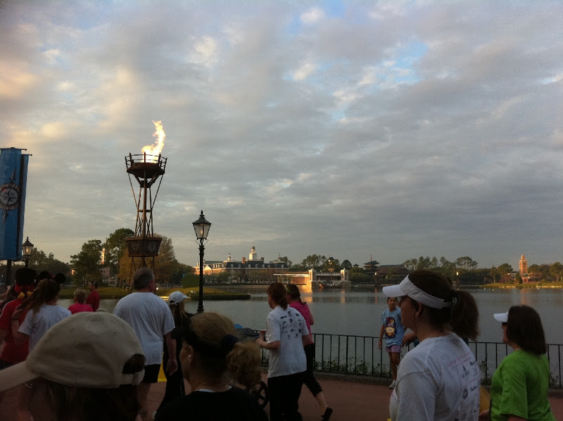 Running through Epcot in the Walt Disney World Marathon