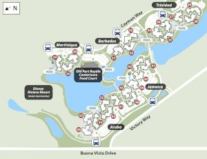 Disney S Caribbean Beach Resort Overview Hotel Map
